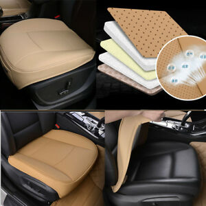 1x-Universal-Beige-PU-Leather-Deluxe-Car-Front-Chair-Cover-SUV-Seat-Cushion-Pad