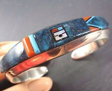 Signed Vintage NAVAJO Sterling Silver CORAL & TURQUOISE Inlay Cuff BRACELET