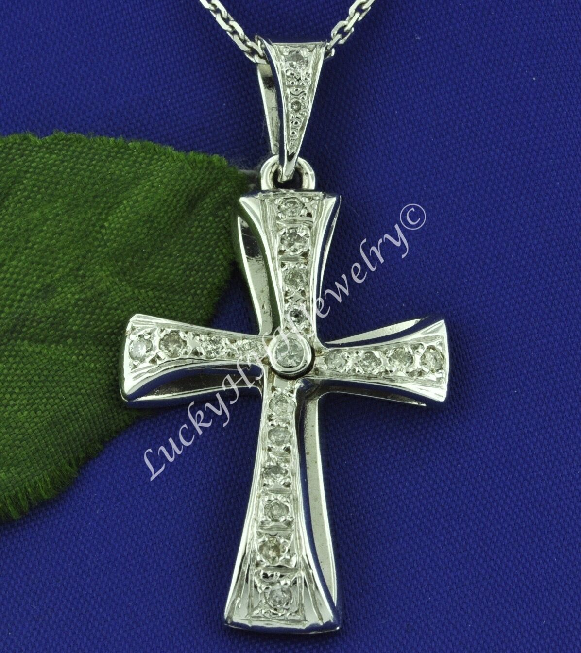 SWIRLY  0.55 ct 14k Solid White gold Diamond Cross Pendant 7.0 Grams  Pre owned