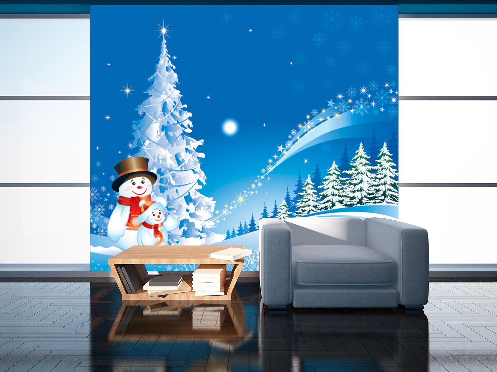 3D Snowman Christmas 7 Wall Paper Murals Wall Print Wall Wallpaper Mural AU Kyra