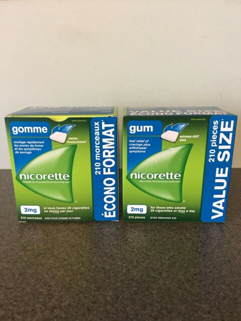 Nicorette Gum 2mg Extreme Chill Value Size 210 Pieces Lot Of 2 Total 420 Pcs New