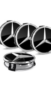 Schwarz-Glanz-4x-Mercedes-Benz-Nabendeckel-in-Felgendeckel-Nabenkappe