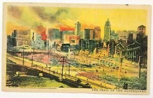 San-Francisco-California-Postcard-Trail-Of-The-Earthquake-Fire-1906-Bird-039-s-Eye