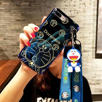 For iPhone X XS Max 8 7 6S Plus Cute cartoon Doraemon Doll strap soft phone case