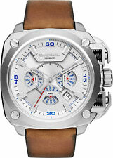 *NEW*DIESEL DZ7357 BAMF Chronograph Silver Dial Brown Leather Strap Men's Watch