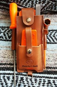 Handmade-Amish-Logger-Leather-felling-falling-wedge-Timber-cutter-Pouch-w-tools