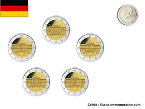 5 Ateliers 2 Euros Commémorative Allemagne 2019 Lander UNC