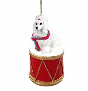 WHITE POODLE w/ DRUM DOG CHRISTMAS ORNAMENT HOLIDAY XMAS ...