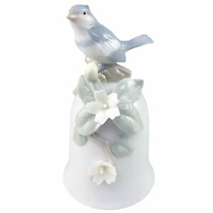 George Good Blue Jay Bell Figurine Bird On Log Flowers Porcelain Taiwan Vintage