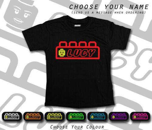 Girl Lego Brick Head Movie Font Name Personalised Cool Black T-shirt School Gift