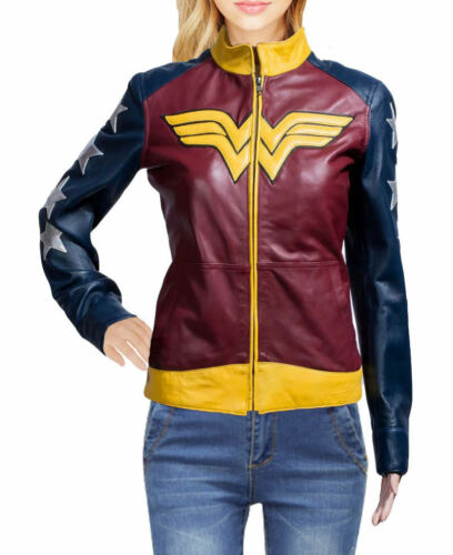 Costumes Stylish Real Women Jacket Leather Wonder CqPBXU