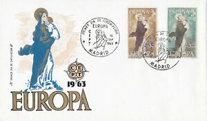 EU66-Spain-1963-Europa-Stamps-On-First-Day-Cover