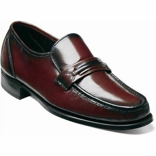Florsheim Men's Como Moc Toe Strap Loafer Black Cherry shoes 17089-18