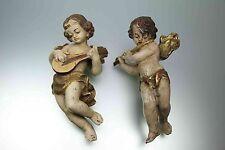 Zwei Alte Kleine Geschnitzte Holz Puttos Engel Musizierend