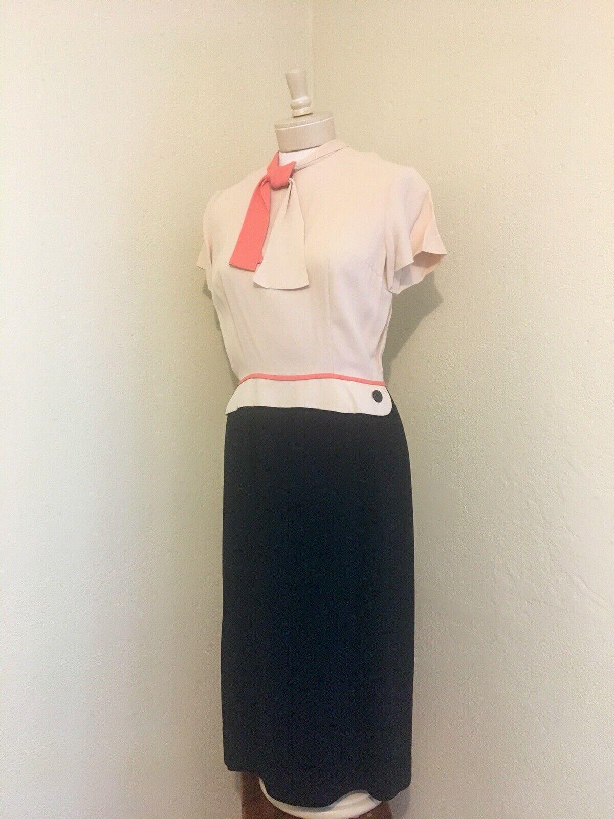 1940's RARE Vintage Lt Pink, Coral, Black Color B… - image 8