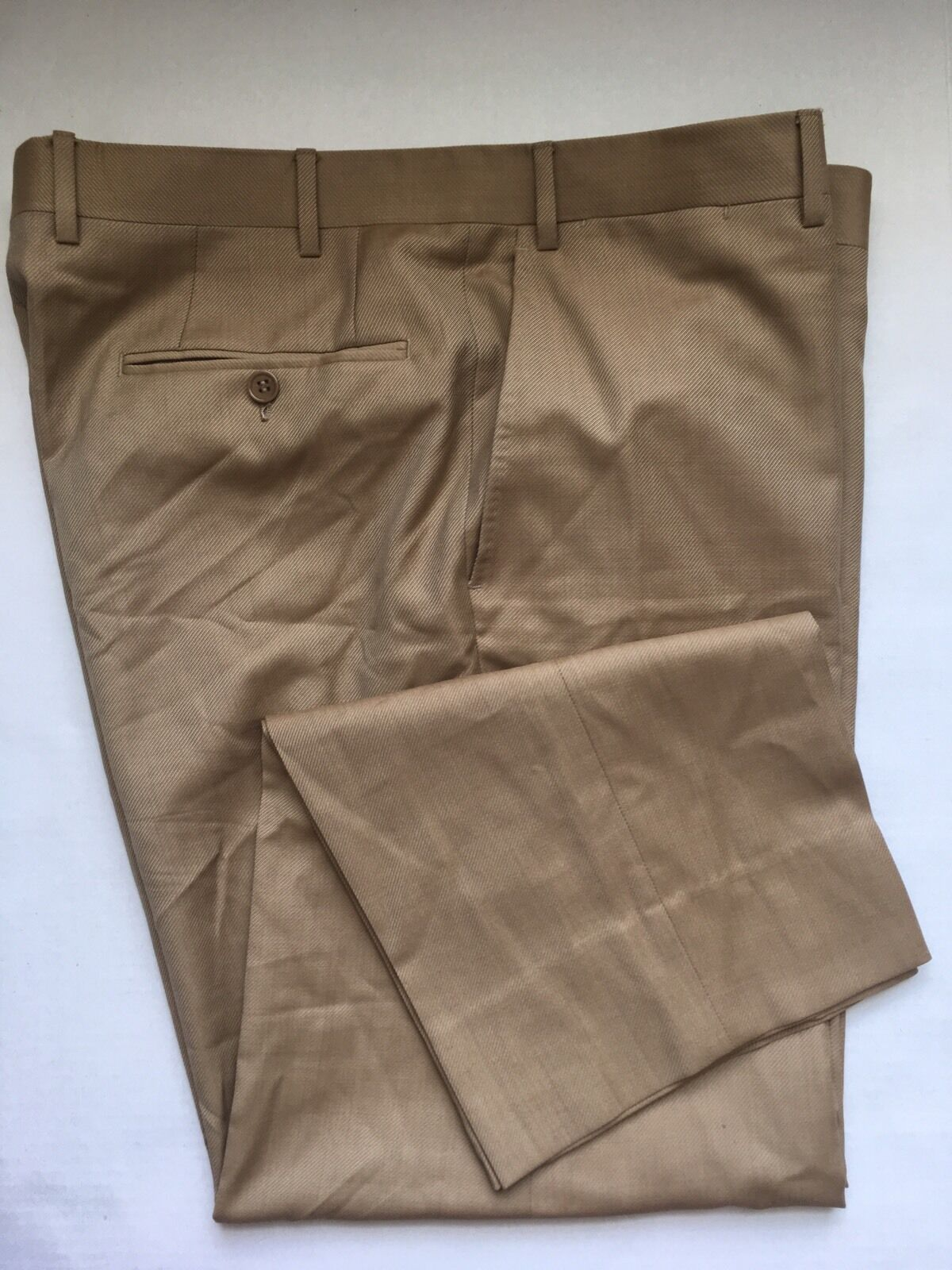Canali Mens  Flat Front Taupe Wool Trousers Dress Pants Size 37