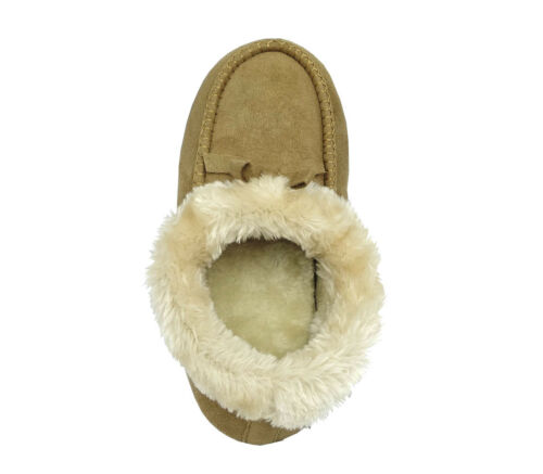 New Ladies/' Luxury Moccasin Slipper Shoe Faux Fur with In//outdoor rubber sole