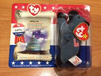 Ty Original Teenie Beanie Baby Lefty The Donkey (mcdonalds) Usa - Sealed