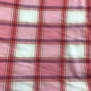 """Supersoft Pink Plaid Flannel 56"""" wide 100% Cotton Sewing fabric Per Yard"""