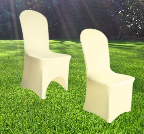 SPANDEX CHAIR COVERS Wedding Party Lycra Cover White Ivory Black UNIVERSAL FIT