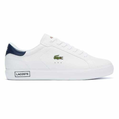 Lacoste Powercourt 721 2 Mens White Navy Red Trainers Sneakers Sports Shoes