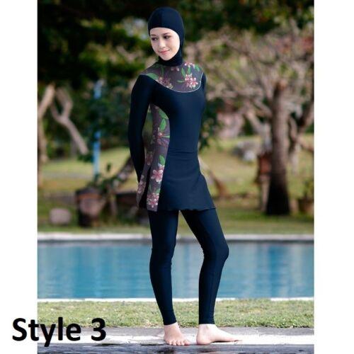 Women Burkini Muslim Swimwear Ladies Modest Swimsuits Three Piece Bathing Suits