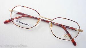 Metall-Brille-Nigura-Klassikstil-gold-braun-Acetatbuegel-Gestell-Fassung-size-M