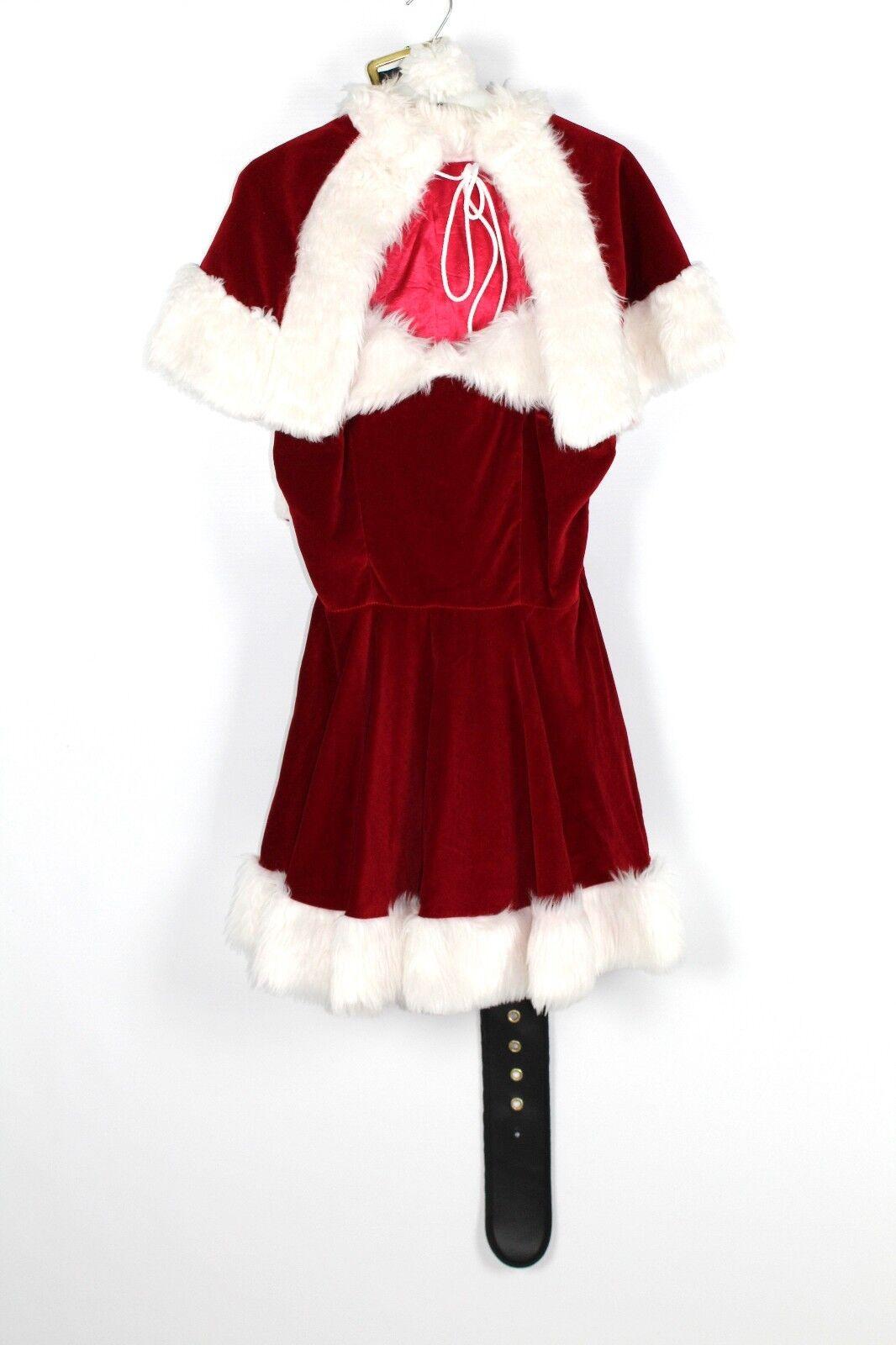 Women's Deluxe Miss Christmas Santa Fancy Dress Costume Small (C17) Velvet