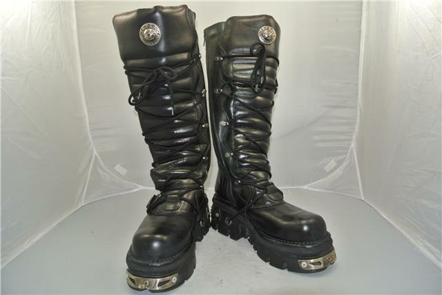 NEW ROCK REACTOR TALL TALL TALL BLACK BOOTS 6 STRAPS ANATOMICAL SOLE ZIP 9.5 UK 055c36
