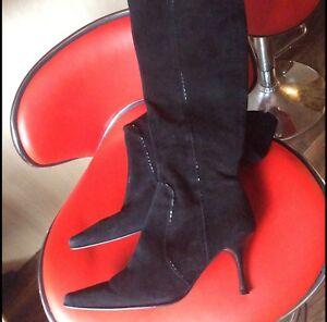 Long Bootmaker Leather Boots Size Black Length Ladies 6 Knee Suede Jones H1wqwvP0
