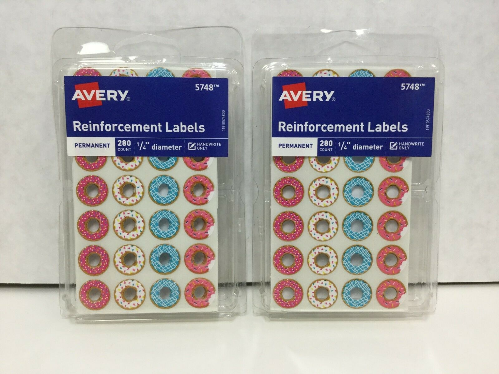 Assorted Donut Designs Fashion Reinforcement Labels Pack of 280-new 1//4 Diameter
