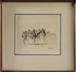 Etching-of-Saddled-Horses-by-William-Robinson-Leigh-United-States-1866-1955
