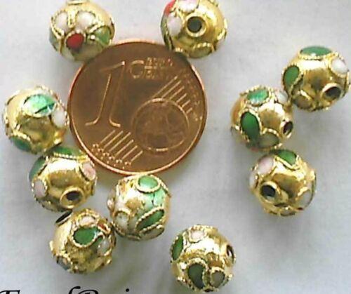10 perles cloisonnées chinoises rondes 8mm DORE DIY bijoux déco