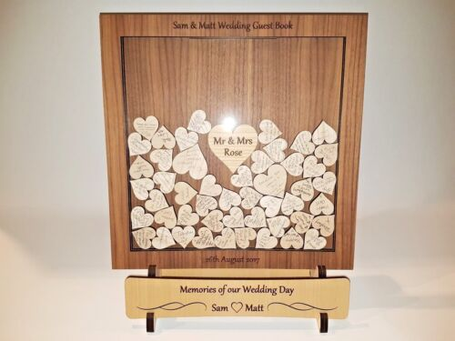 Deluxe Personalised Wedding Guest Book Heart Box /& Stand Set