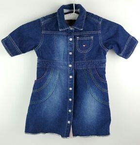 ce22b6596db Vintage Girls Dress 4T Tommy Hilfiger with Pockets Toddler Denim ...