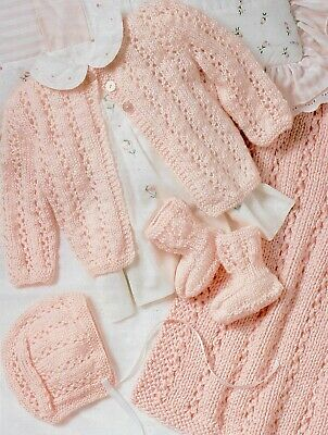 Knitting Pattern-Baby Layette up to 6 months Blanket// Cardigan//Hat//Booties P0328