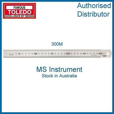 FAMOUS TOLEDO 300M 300mm STAINLESS STEEL SINGLE SIDED METRIC RULE
