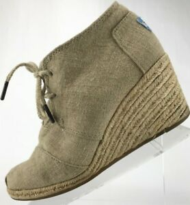 a80f18d33433 Toms Wedge Boots - Lace Up Canvas Desert Ankle Chukka Booties ...