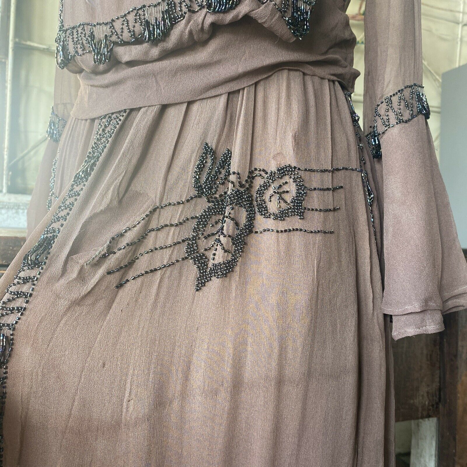 Antique 1910s Brown Silk Chiffon Tiered Beaded Dr… - image 6