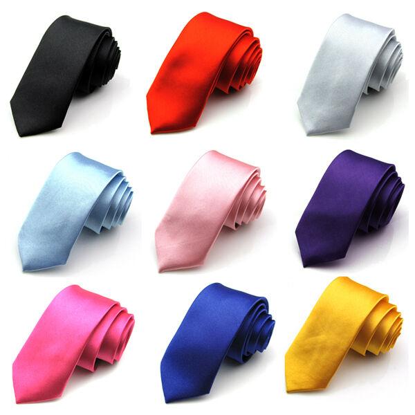DX#-Stylish Men's Formal Wedding Party Groom Solid Color Slim Plain Tie Necktie