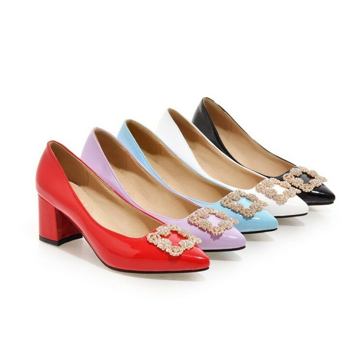 Ladies Pointed Toes Shoes Synthetic Leather Med Heels Wedding Wedding Heels Pumps US4.5-US13 c49e69