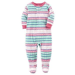 6885ad47018c Carter s Pink Fair Isle One-Piece Fleece Sleeper Pajamas Toddler ...