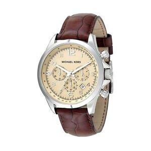 Michael-Kors-Uhr-MK8115-Herren-Chronograph-Leder-Braun-Armbanduhr-Datum-NEU