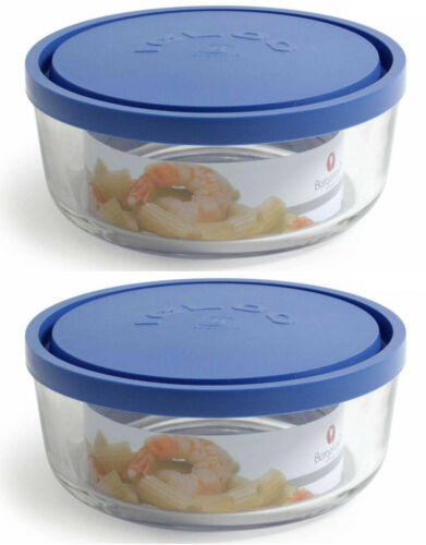 2x Borgonovo Igloo Glass ROUND Hermetic Food container containers BLUE 18cm