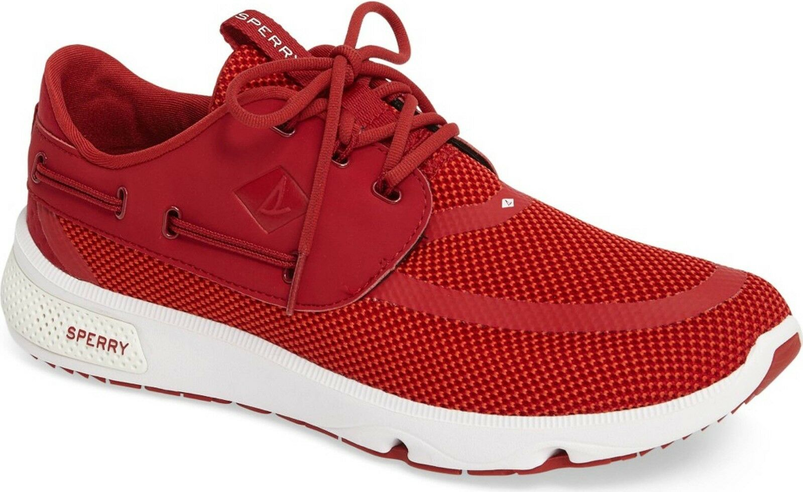 NEW - SPERRY TOP-SIDER Men's Red Knit SEAS 3-Eye Sneaker Boat Shoe - STS15529