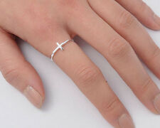 Silver Tiny Cross Ring Sterling Silver 925 Plain Best Deal Jewelry Gift Size 6
