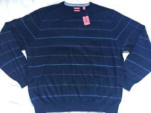 NWT-Izod-Mens-Sweater-XXL-Navy-Blue-Stripe-Crew-Neck-Long-Sleeve-Wool-Blend