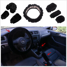 3Pcs Vevet Warm Winter Steering Wheel Cover Woolen Handbrake Car Accessory Set