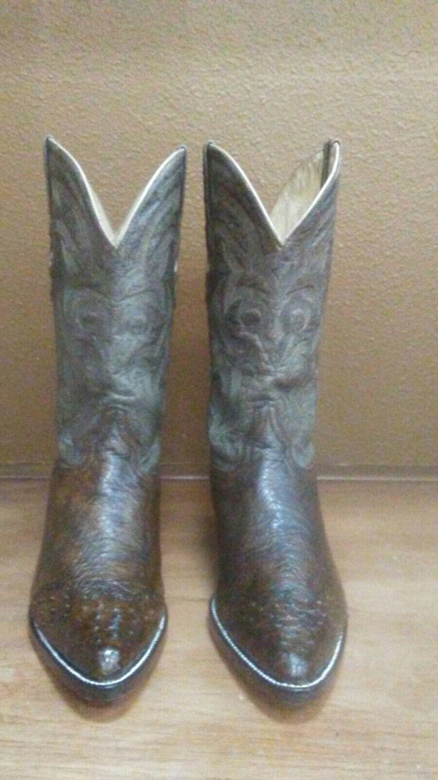 Para Hombre botas De Vaquero Avestruz 9 D Marrón El General Puntera Puntiaguda 3x Mano Restaurado