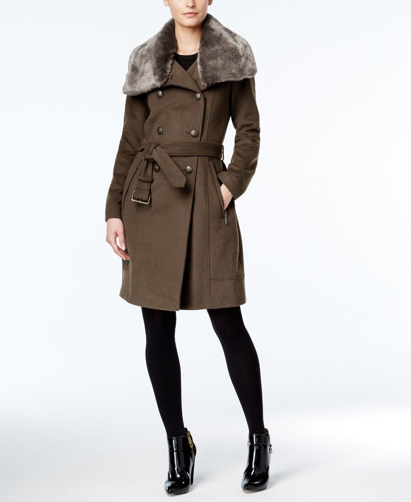 0ece415fb Fur Faux Women's Camuto Vince Double Collar M Green Army , Coat ...